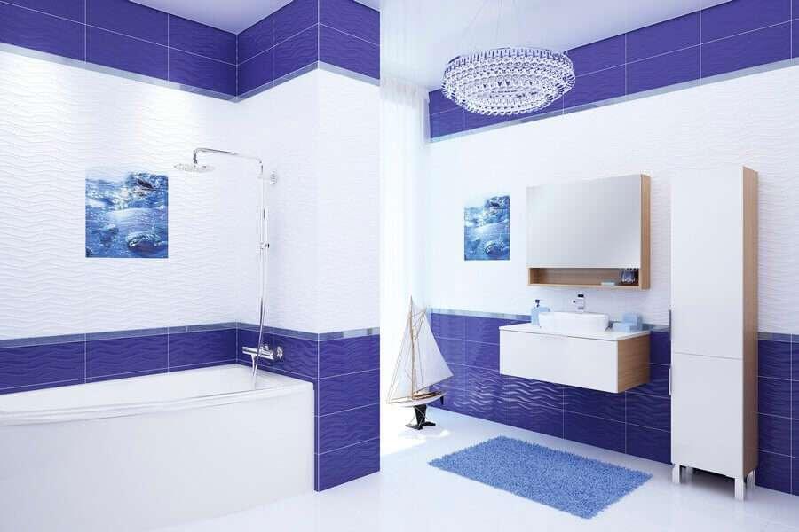плитка в маленькую ванную сине-белая часто